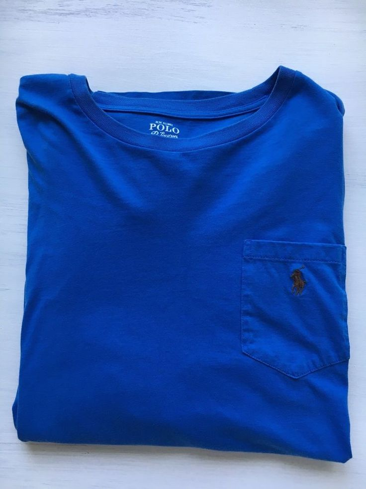 Polo By Ralph Lauren Royal Blue Long Sleeve Shirt Brown Pony Men's Size Large #PoloRalphLauren #LongSleeveShirt