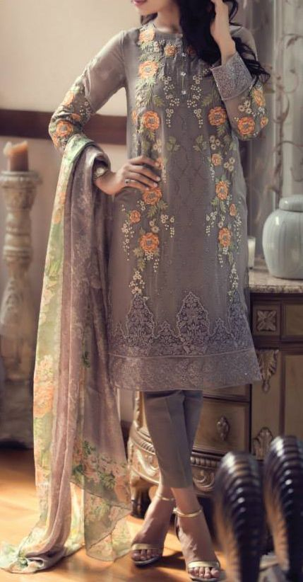 Buy Grey Embroidered Chinese Chiffon Dress by Maria B. Chiffon Eid Collection.