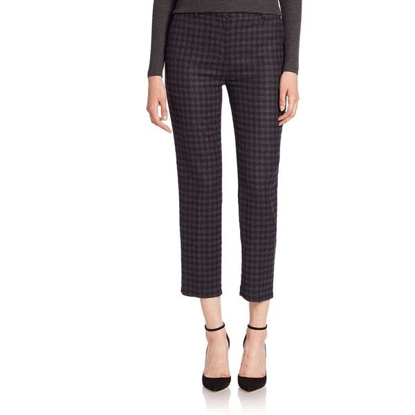 Theory Treeca Plaid Cropped Pants ($114) ❤ liked on Polyvore featuring pants, capris, cropped capri pants, tartan pants, slim pants, white crop pants and zip pants