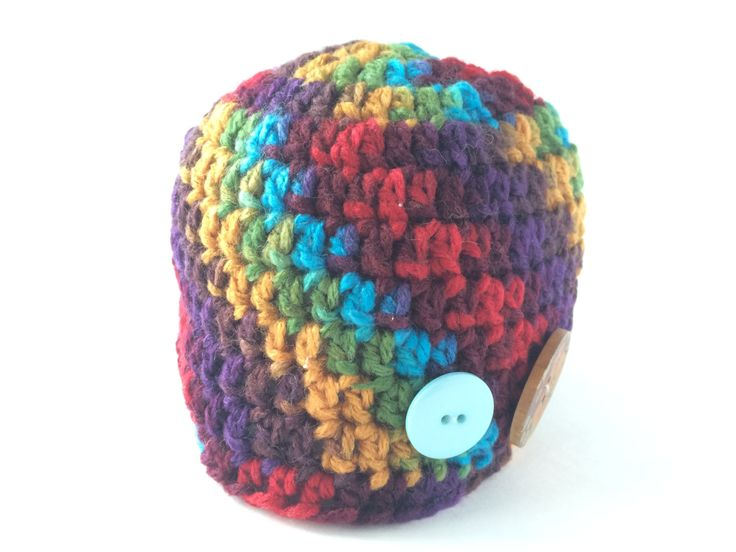 size 0-3 month Rainbow beanie with buttons by hunnibeecrafts on Etsy
