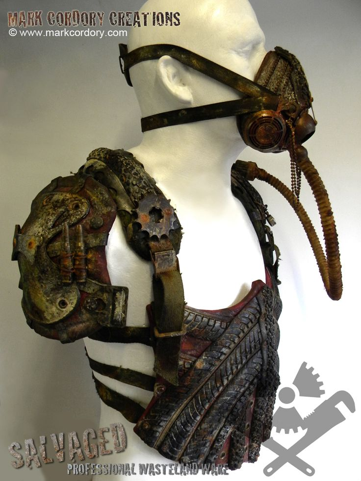 Post Apocalypse armour and gas mask for LARP by Mark Cordory Creations. www.markcordory.com