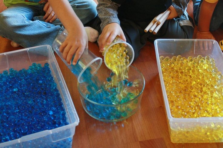 Since the water beads absorb and release moisture, they all exchanged their colors and we ended up with a bowl of green water beads!