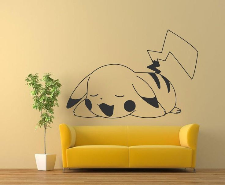 "Pikachu 24""x35"" Pokemon Wall Decals, Vinyl Decals, Murals Sticker,  #Oracal631MatteFinishVinylPaper #StreetArts $20"