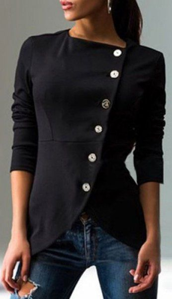Round Collar Skew Buttoned Slit Coat