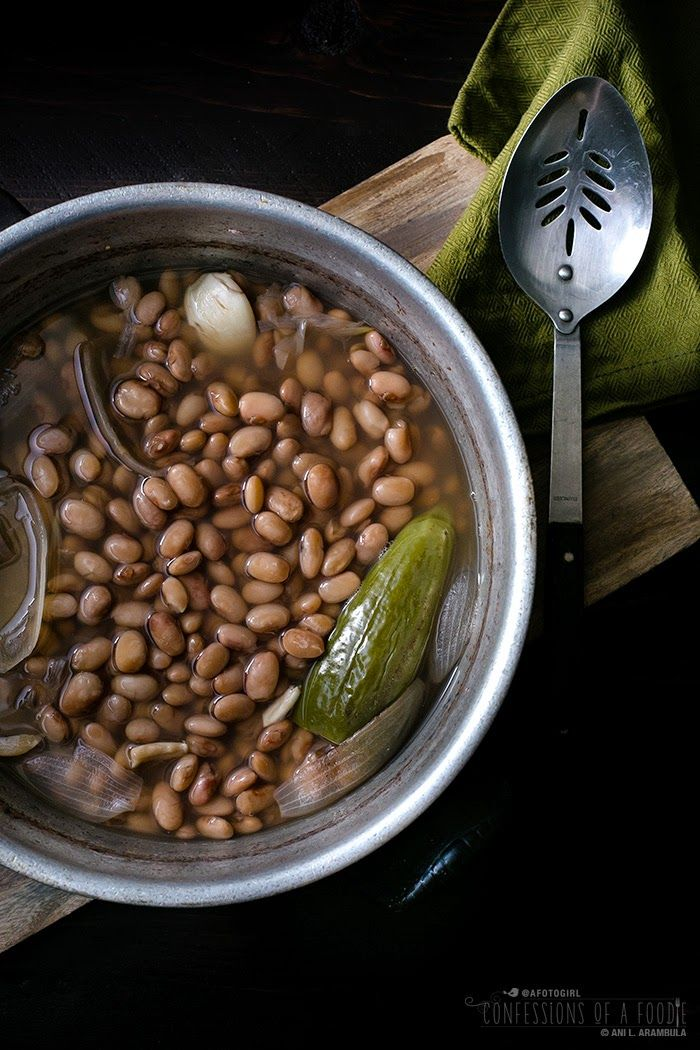 Frijoles de la Olla, a traditional Mexican dish of cooked pinto beans, varies slightly from family to family. However you make it, it's a great recipe for Meatless Mondays.