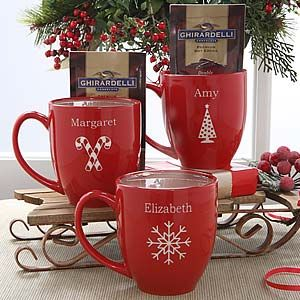 Red Personalized Holiday Mugs with Hot Cocoa - 4499... OR do this with dollar store mugs, sharpie and oven, and dollar store hot chocolate packs... 2 dollars vs. 20... though my handwriting isn't as pretty as their printing!
