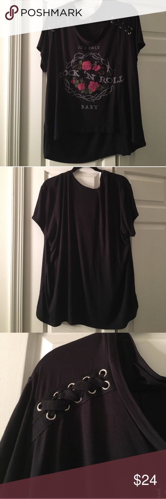ROCKER CHIC TOP 2X NWOT PLUS SIZE Adorable! Has a tiny puncture where tag was. Very soft!! Distressed look is trendy Tops Tees - Short Sleeve