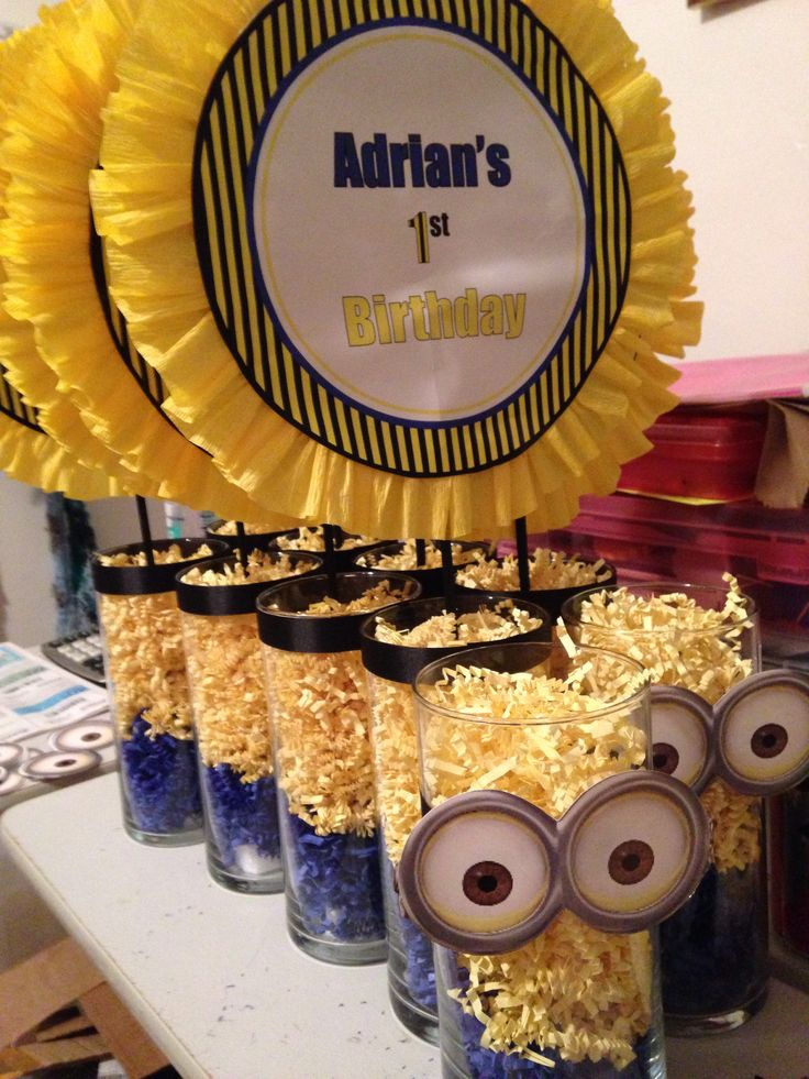Minion party centerpieces decor for minion party idea for first birthday Check out Dellilahmae on etsy!! for more decor!!!!