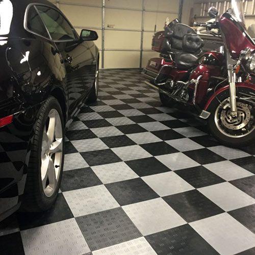 Garage Floor Tile Diamond showing customer garage with car boat and bike.