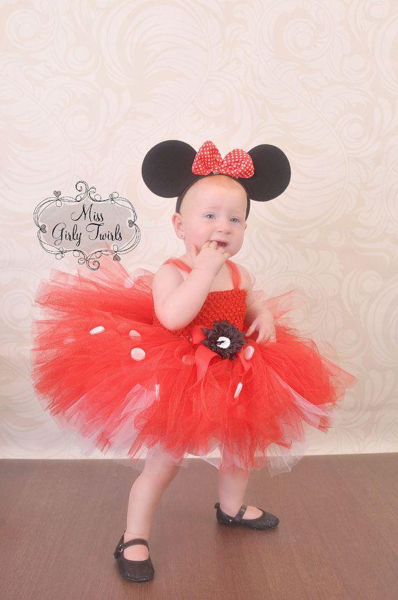 Traje del vestido de Minnie Mouse tutu rojo por MissGirlyTwirls