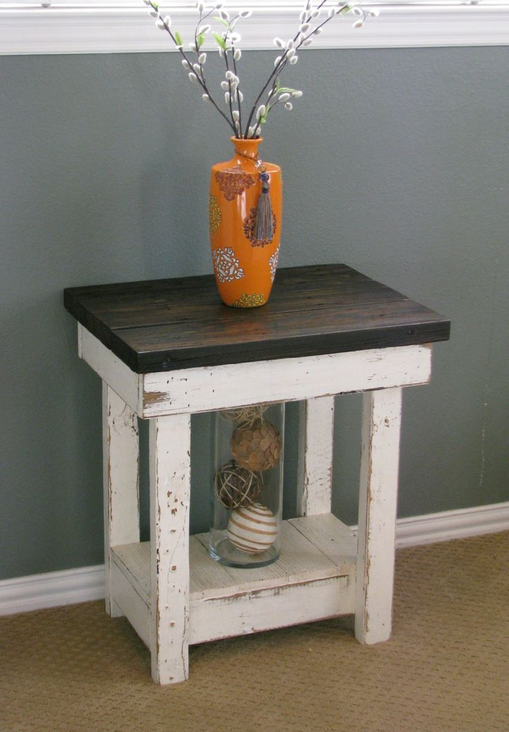 Sookie Distressed End Table, White On Houzz
