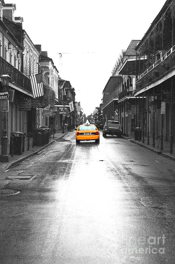 Bourbon street taxi french quarter new orleans color splash black and white film grain digital art by shawn obrien