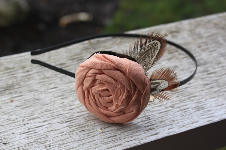 Peachy Pink Rolled Rosette Fabric Flower Feather Headband - Skinny Metal Headband Handmade to order (toddler, adult, teen, womens, girls). $11.00, via Etsy.