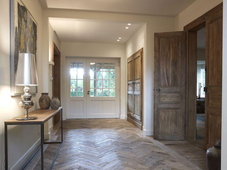 Beautiful Oak Herringbone Floor Front Door Villabouw