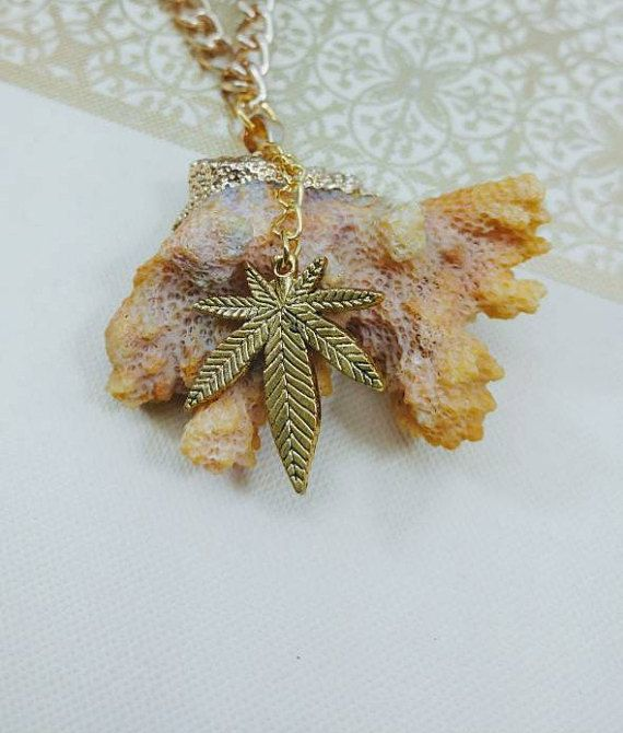 Large Beach Coral Cannabis Leaf Necklace.