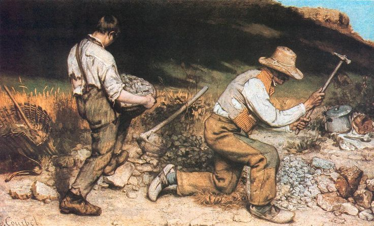 The Stone Breakers. 1849 (destroyed during World War II).  Oil on canvas, 5 feet, 5 inches x 7 feet, 10 inches.