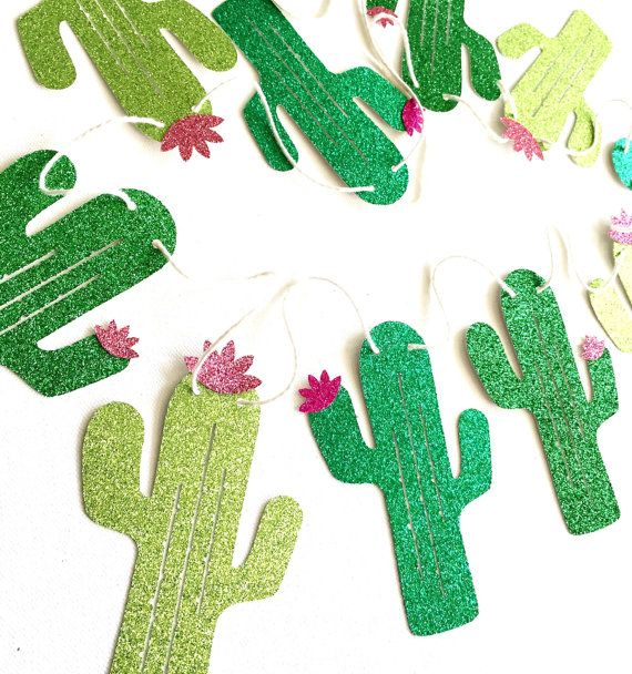 Glitter Cactus Banner - Fiesta Banner - Cactus Decor // Cinco de Mayo Decor // Fiesta Party Decorations