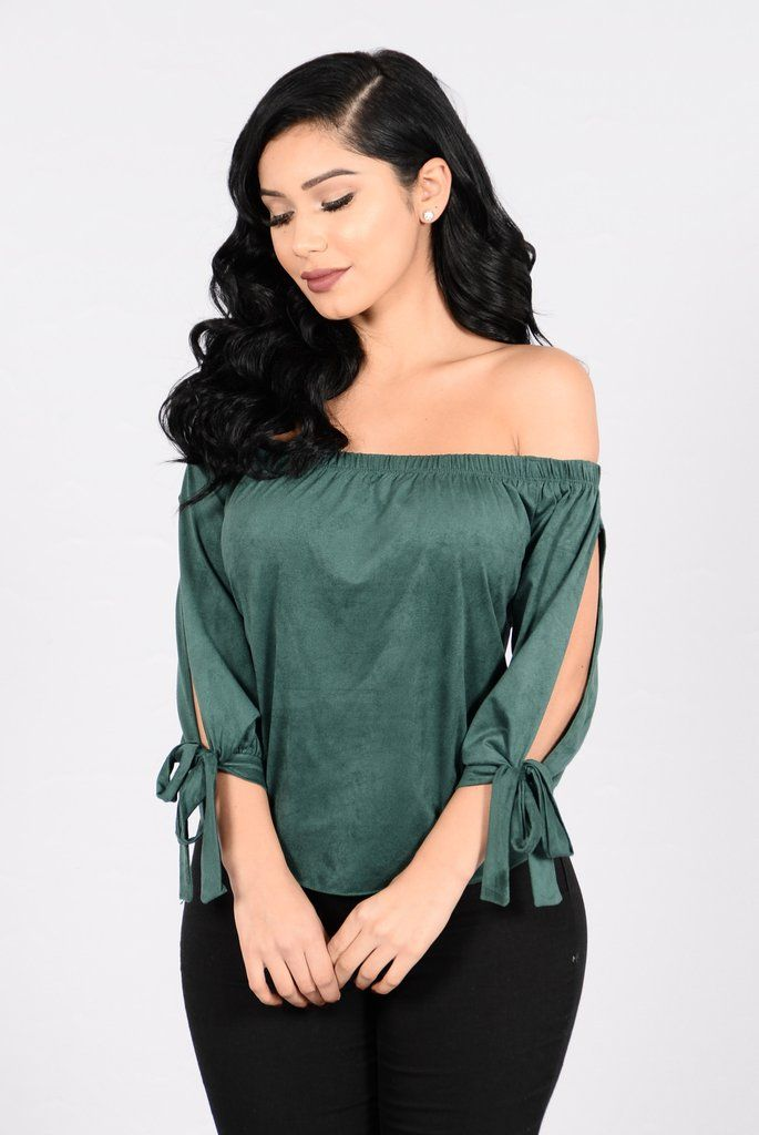 - Available in Hunter Green - Faux Suede - Off Shoulder - Tie Top - Mid Sleeve - Made in USA - 90% Polyester 10% Spandex