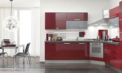 Cocina en color rojo en esquina cocinas puerto - Cocinas en esquina ...