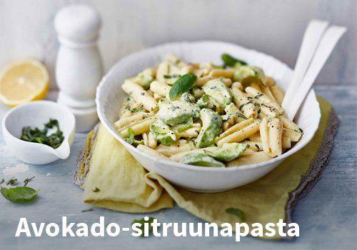 Avokado-sitruunapasta, Resepti-Valio  #kauppahalli24 #avokado #sitruuna #pasta #resepti #valio #kasvis