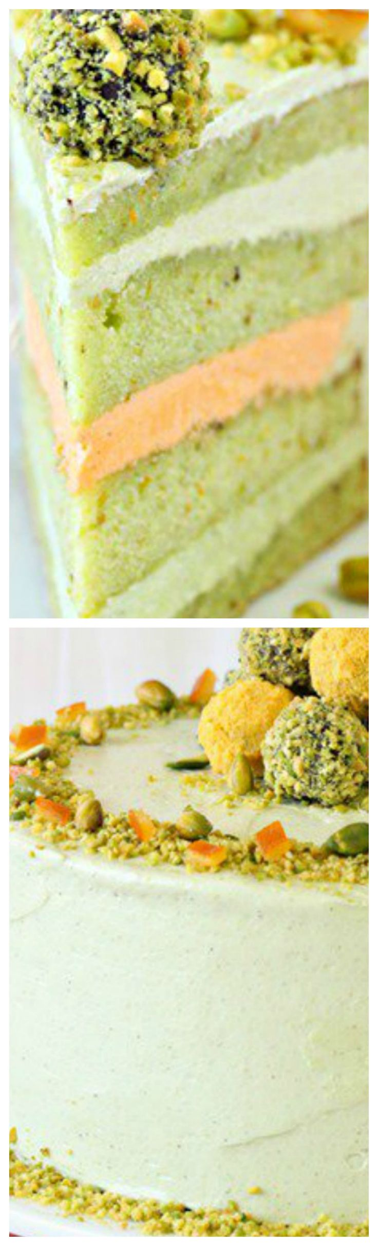 Pistachio Orange Cake ~ This cake has pistachio cake layers, rich pistachio buttercream, and a hidden layer of orange frosting!