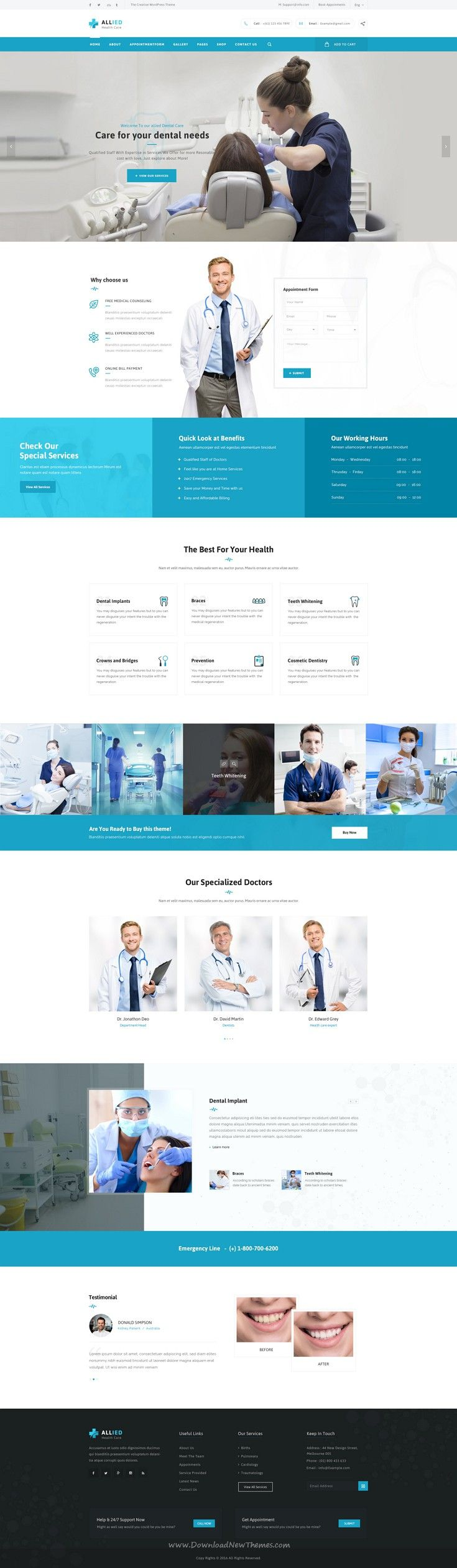 Allied Health Care is beautiful Medical website PSD Template. #dental #dentist #psdtheme Download Now!