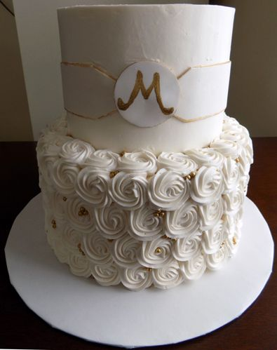 two tier white and gold wedding cake 17 best images about wedding cakes with rosettes on 21379