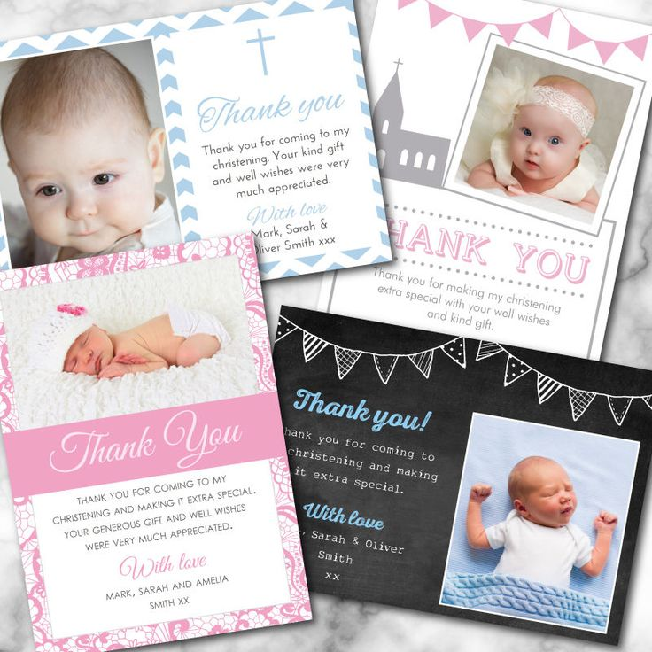 """Personalised Christening Thank You Cards, envelopes included *free proof"""""""