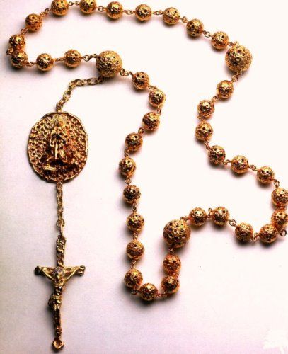 Silver gold rosary beads with diamods. Handmade, made in Italy