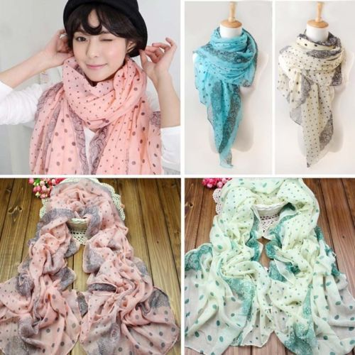 New Fashion Lady Women's Long Voile Dot Scarf Wraps Shawl Stole Soft Scarves