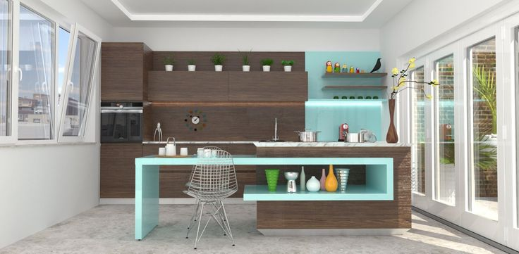 Bright and vibrant kitchen concept for a small space