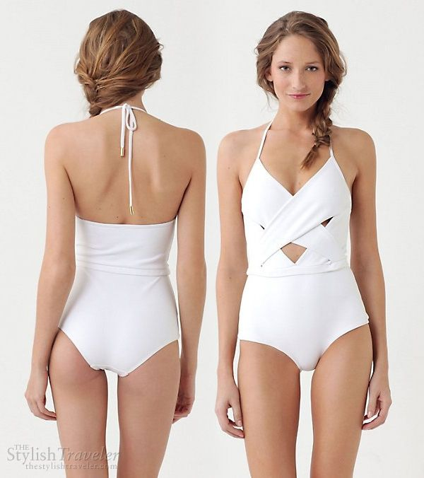 white swimsuit halter neck - Zimmermann Laughing Gull One-Piece cutout maillot, Antropologie