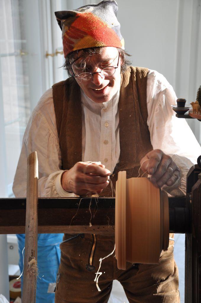 Christian Werner ,folk artist, at work on his lathe, in his studio, Seiffen, Erzgebirge,Germany.