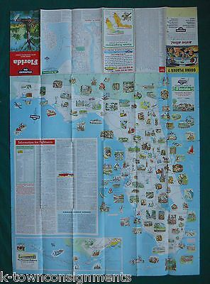 FLORIDA VACATIONS VINTAGE GRAPHIC ADVERTISING FOLD-OUT MAP TRAVEL BROCHURE