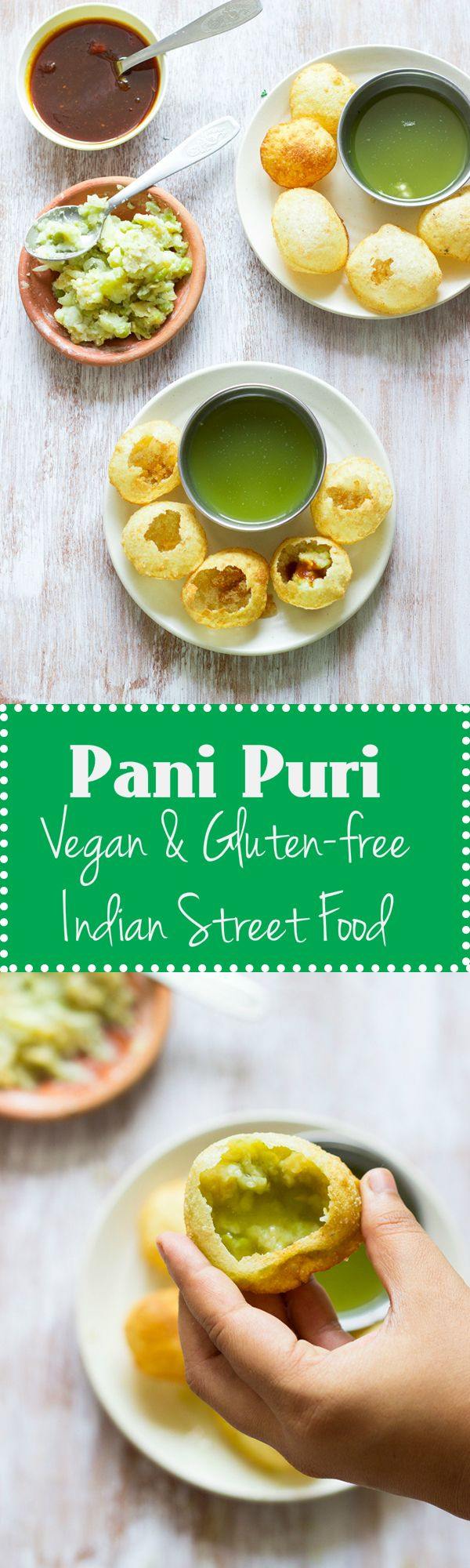 Pani Puri / Golgappa / Puchka is a popular Indian street food made by stuffing crispy dough balls with mashed potato and a spicy mint coriander water. Vegan and Gluten Free.