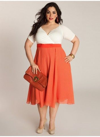 Plus Size Dress Plus Size Fashion Plus Size Clothing at www.curvaliciousclothes.com Sizes 12-32   Rita Vintage Polka Dot Plus Size Dress in Coral   The Rita Vintage Polka Dot Dress turns back time with a look from the 1950s, incorporating a simple, demure silhouette and trend-perfect polka dots into the full featherweight chiffon skirt. Perfect for hot summer climates, you can wear with or without its contrast belt, neutral gems, and wedges.