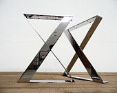 """Items similar to 16"""" X-frame Flat Stainless Steel Table Legs, 16"""" Width Base, Bench Legs,height 12""""  To 16"""" , Set(2) on Etsy"""