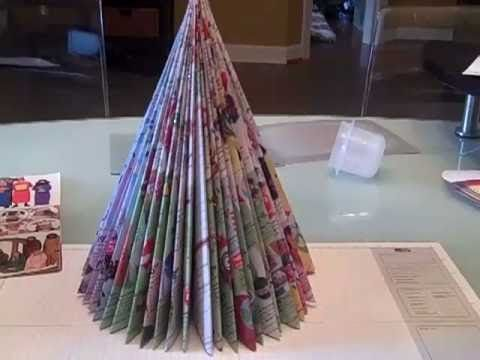 magazine christmas tree. This is so cool! Skye and I are doing this for our Christmas Party!