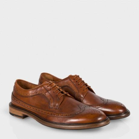 Paul Smith Men's Tan Dip-Dyed Calf Leather 'Lincoln' Brogues With Rubber Grip
