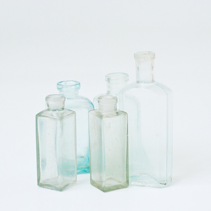 Collection of 5 Vintage Glass Bottles