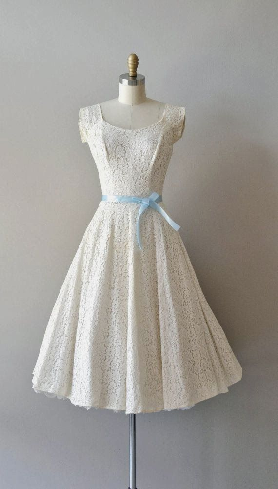 Cute White Lace Froak With Blue Ribbon Bow Fashion