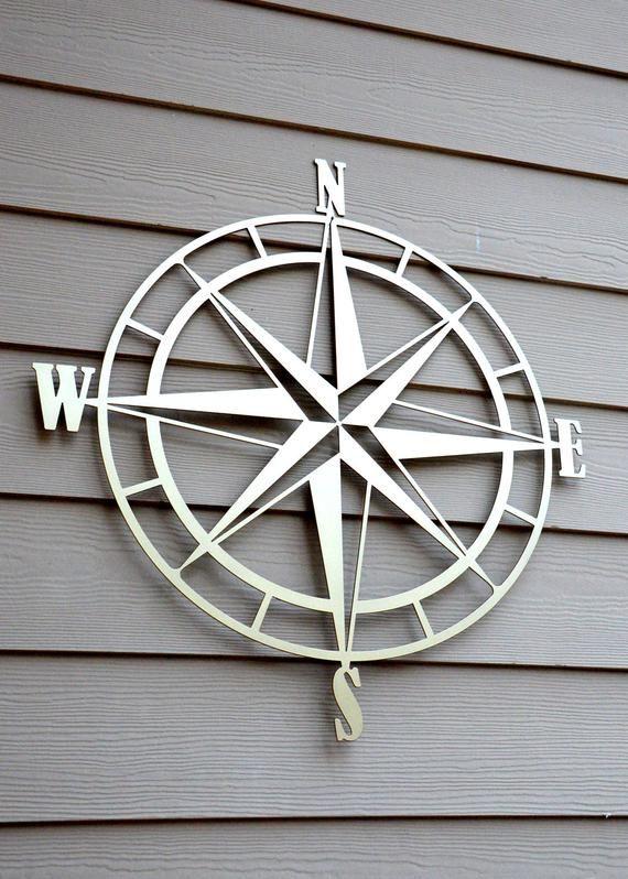 Nautical Compass Rose Metal Wall Art Etsy In 2021 Exterior Wall Art Outdoor Metal Wall Art Metal Wall Art Decor