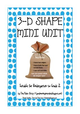 Shapes Unit (free & printable) ***Love the activity Shape in the Bag- discribe the shape that is in the bag.