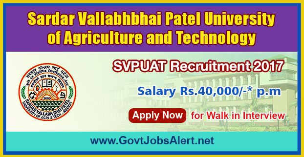 SVPUAT Recruitment 2017 – Walk in Interview for Medical Doctor Posts, Salary Rs.40,000/- : Apply Now !!!  The Sardar Vallabhbhai Patel University of Agriculture and Technology – SVPUAT Recruitment 2017 has released an official employment notification inviting interested and eligible candidates to apply for the positions of Medical Doctors. The interested candidates have to attend the walk in interview to apply to the post in the prescribed format website (given below).