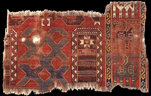 Historical Ilkhanid (Azerbaijan, Tabriz) / Seljuq (Anatolian) rug with animal design, the fragment has been radiocarbon dated to 1276 +/ - 45 years, Eskenazi collection