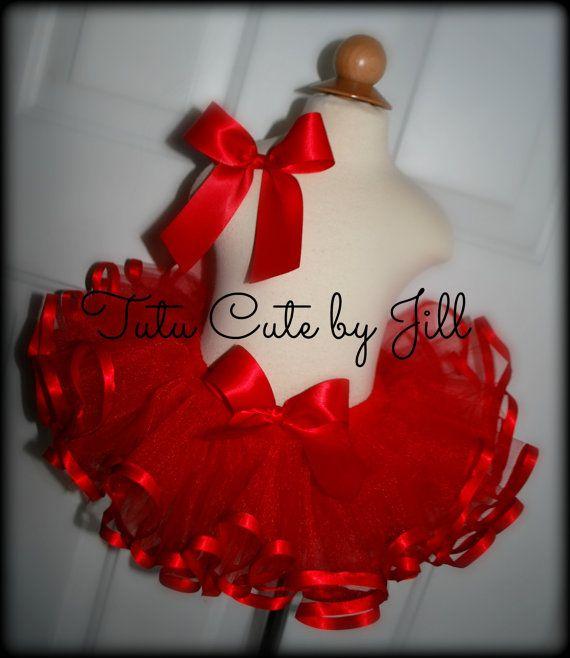 Sewn Red Ribbon Trim Tutu. Newborn up to a 5T. by Tutu Cute By Jill