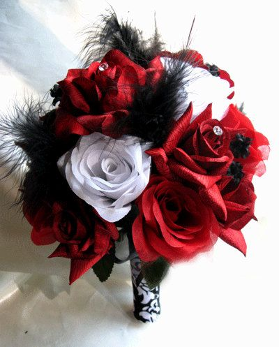 Wedding bouquet Bridal Silk flowers RED  WHITE BLACK Feathers 22 pc package Bridesmaids boutonnieres Corsages. $259.99, via Etsy.