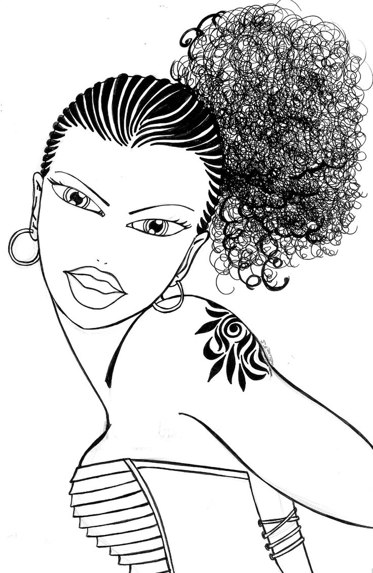 Coloring pages hair - Coloring Pages Shaneze Looks Romantic With Her Large Afro Tail