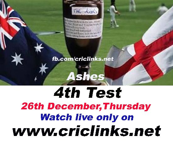 26th December, Thursday 4th Ashes test will be played at MCG.After Regain Ashes Aussis Eying on white wash,they are playing now with england players minds.so much happen between 3rd test To 4th....other hand England will play for Survivor.Match will be start at 4.30 AM PST 5.00 AM IST.watch live action only on http://www.criclinks.net/