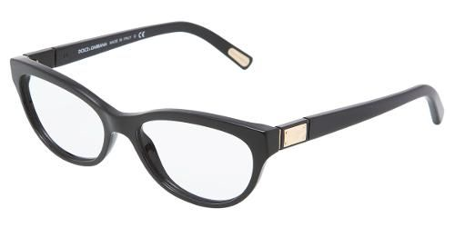 Dolce  Gabbana Eyewear: model 3118 - Women Ophthalmic Collection. Cat-eye Glasses with Black Frame in Plastic.